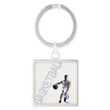 basketball_dribble_wht (2) Square Keychain