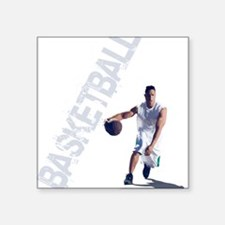 "basketball_dribble_wht (2) Square Sticker 3"" x 3"""