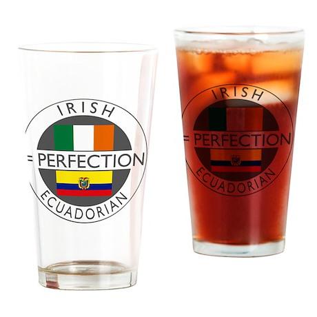 irish equadorian flags round Drinking Glass