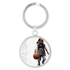 basketball_kid_dribble_1wht Round Keychain