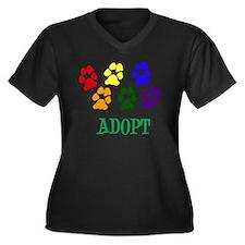 Rainbow Paws Women's Plus Size Dark V-Neck T-Shirt