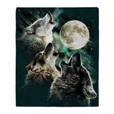 88503wolfmoo311n Throw Blanket