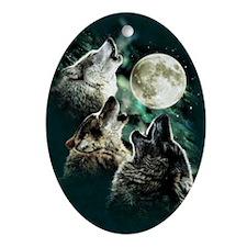 88503wolfmoo311n Oval Ornament