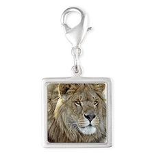lion-portrait-t-shirt Silver Square Charm