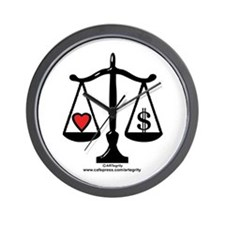 Balance of Love & Money Wall Clock