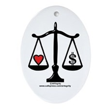 Balance of Love & Money Oval Ornament