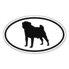 Pug Dog Oval Decal