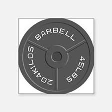"Clock Barbell45lb Square Sticker 3"" x 3"""