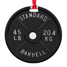 clock barbell45lb2 Ornament