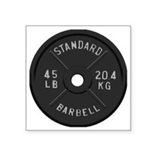 """clock barbell45lb2 Square Sticker 3"""" x 3"""""""