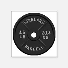 "clock barbell45lb2 Square Sticker 3"" x 3"""