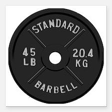 """clock barbell45lb2 Square Car Magnet 3"""" x 3"""""""