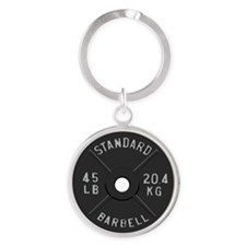 clock barbell45lb2 Round Keychain