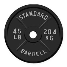 clock barbell45lb2 Round Car Magnet