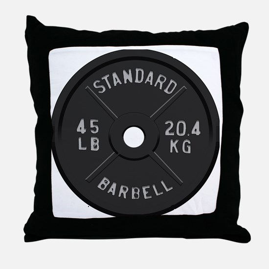 clock barbell45lb2 Throw Pillow