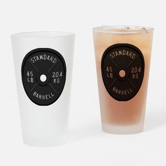 clock barbell45lb2 Drinking Glass