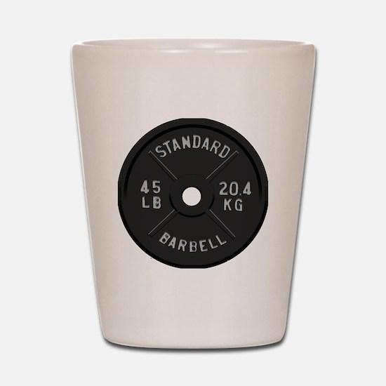 clock barbell45lb2 Shot Glass