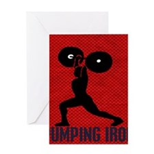 pumping_iron_12by14_red Greeting Card