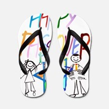 Colorful Happy Passover Trans Flip Flops