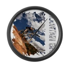 Mountain_Bike_Hill_whr Large Wall Clock