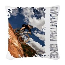 Mountain_Bike_Hill_whr Woven Throw Pillow