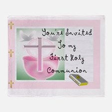 First Holy COmmunion PINK INVITE Throw Blanket