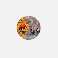bear_crossing_sign_YNP_1024x1024 Mini Button