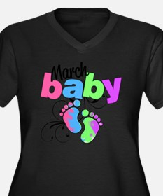 march baby Women's Plus Size Dark V-Neck T-Shirt