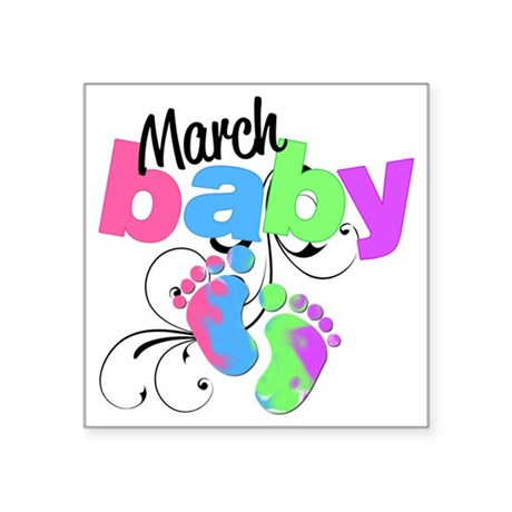 """march baby Square Sticker 3"""" x 3"""""""