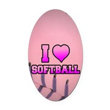 Pink I love softball Oval Car Magnet