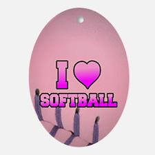 Pink I love softball Oval Ornament