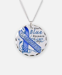 I Wear Blue Because I Love M Necklace