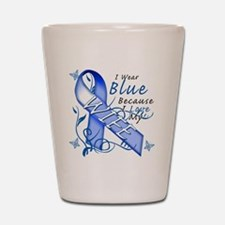 I Wear Blue Because I Love My Wife Shot Glass