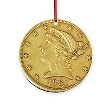 1881_Liberty_Half_Eagle Round Ornament