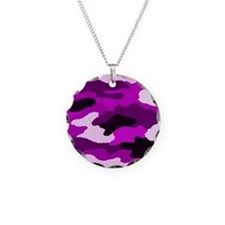 Purple Camo Necklace Circle Charm
