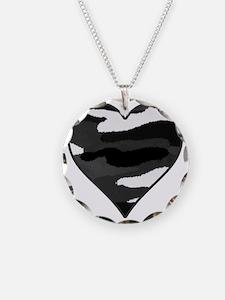BW Camo Heart Necklace Circle Charm