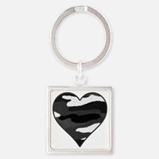 BW Camo Heart Square Keychain