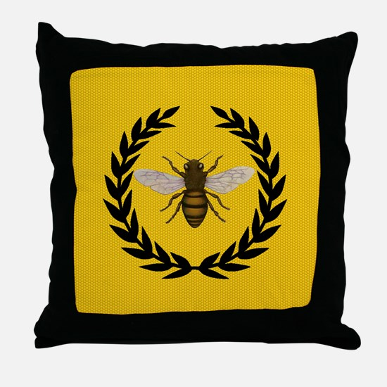 Stylized Bee_N_Honeycomb Throw Pillow