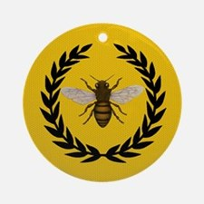 Stylized Bee_N_Honeycomb Round Ornament