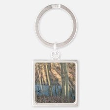 Winter Hike in Winton Woods Square Keychain