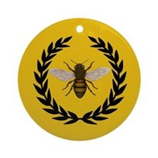 Stylized Bee_Pillow Round Ornament