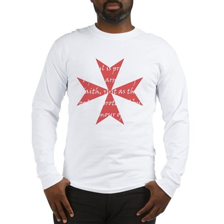 Templar Cross White Long Sleeve T-Shirt