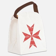 Templar Cross White Canvas Lunch Bag
