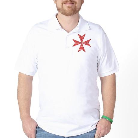 Templar Cross White Golf Shirt