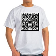 Blk_white_Damask_PCover T-Shirt