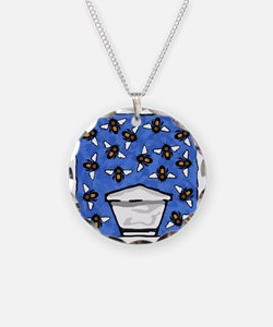 Top Bar Beehive and Bees Necklace