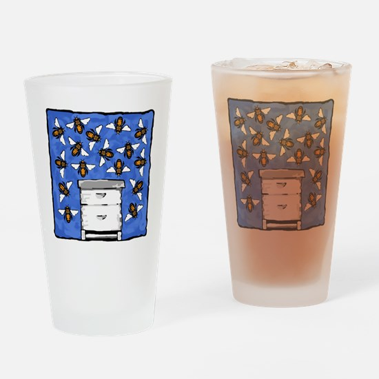 Bees and Beehive Drinking Glass