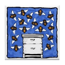 Bees and Beehive Tile Coaster