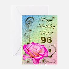 96th birthday card for sister, Elegant rose Greeti