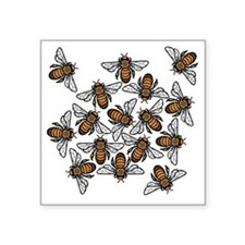 "Big Bee Swarm Square Sticker 3"" x 3"""